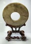 Chinese Archaic Jade Bi Disc With Wooden Stand Brown Vein Jade Neolithic