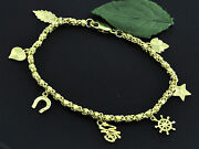 18k Solid Yellow Gold Mixed Assorted Charm Bracelet 7 Inches 11.00 Grams