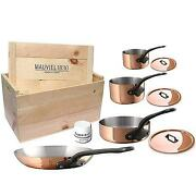 Mauviel M'heritage M250c 2.5mm Copper Cookware Set, 7pc With Wooden Crate