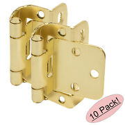 10 Pack Cosmas 18650-bb Brushed Brass Partial Wrap Hinge 1/2 Overlay Pair