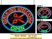 Walk Ins Welcome With Animated Scissors Neon Sign | Jantec | 30 X 24 | Salon