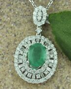 3.89 Ct 18k Solid White Gold Ladies Natural Colombian Emerald And Diamond Pendant