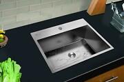 25x 22x 9 Stainless Steel Top Mount Kitchen Sink Single Basin Large Capacity