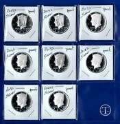 2013 S - 2020 S Silver Proof Kennedy Half Dollar Set - Eight Coins