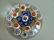 Rare Signed Steuben Crystal 1943 Millefiori Art Glass Paperweight Off Hours Emp