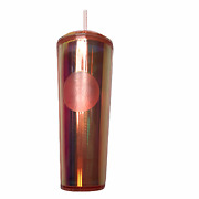 New Starbucks Single Cold Cup To Go Plastic Iridescent Pink Dome Lid Rose Gold