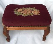 Antique Needlepoint And Wooden Foot Stool