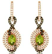 2.72ct White And Mocha Diamond And Aaa Peridot 14kt Rose Gold Oval Hanging Earrings