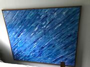 5 Foot By 6 Foot Blue Oil Abstract Framed With 3/4 Inch Tiger Wood With Hanging