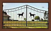 Steel / Iron Driveway Entry Gate 12 Ft Wide Dual Swing Security Yard Residential