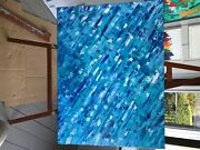 3 Foot By 4 Foot Blue Abstract Framed In 3/4 Jnch Tiger Wood Original