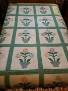 Exceptional Antique 1920's Flower Pot Quilt- Hand-quilted Scalloped Border 81x98