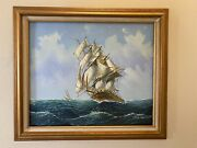 Lrg Oil Painting Maritime Sailing Piece Master Style 20th Century Signed Ambrose