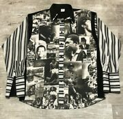 Menand039s Black Icon History Dress Shirt Double Collar French Cuff 2xl Dtek Jeans