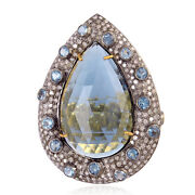 925 Sterling Silver Studded Diamond Pear Cut Topaz Cocktail Beautiful Ring Gift