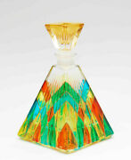 Vintage Murano Italy Stained Glass Perfume Bottle Hand Painted Gold Pyramid