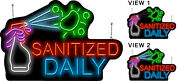 Animated Sanitized Daily Neon Sign | Jantec | 36 X 24 | Clean Pickup Light