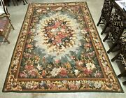 Antique French Aubusson Tapestry Wall/rug Red Rose Multi Flowers Green Circa1900