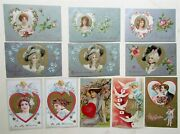 Lot Of 11 St.valentine Day Embossed Antique Postcards