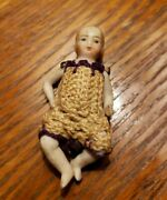Antique Bisque Doll House Baby Doll W Crocheted Clothes/articulating - German 2