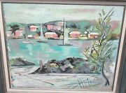 Alfred Birdsey Bermuda Town Sail Boats Scene Original Oil On Canvas Old Painting