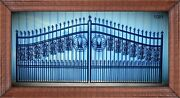 Wrought Iron Style Steel Driveway Entry Gate 14' Wide Home Outdoor Security