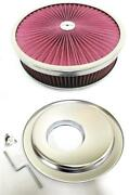 14 X 3 Flow Through Air Cleaner Kit W/ Washable Filter Offset Base Deluxe Nut