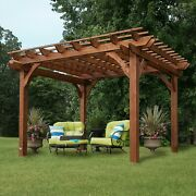 Wooden Outdoor Gazebo Patio Pavilion Cedar Pergola 12and039 X 10and039 X 8and039 Tall
