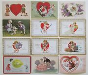 Lot Of 12 Valentine Antique Embossed Postcards W/ Cupids Dog Couples