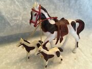Plastic Horse Set. Mare And Two Fouls. Chained. Hollow Plastic And Saddle.