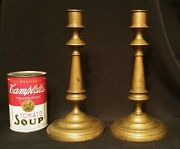 18th Cen Brass Candlesticks Antique American French Colonial Table Art Sculpture