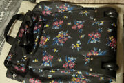 Woman Within Travel Bag Luggage Wheels Extendable Handle Floral Black Soft