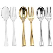 Clear/gold/silver Tiny Cutlery Disposable Plastic Mini Flatware - Spoons   Forks