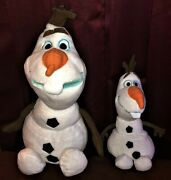 Lot Of 2 Disney Frozen Plush 9 In And 13 In Olaf Snowman