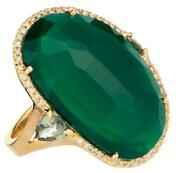 Estate Large .20ct Diamond And Aaa Green Agate 14kt Yellow Gold Oval Halo Fun Ring