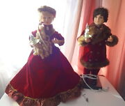 Telco Motionette Christmas Victorian Dress Lady Girl And Man Boy Animated Figures