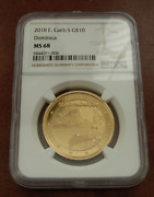 Dominica 2018 Gold 1 Oz 10 Ngc Ms68 Eastern Caribbean Central Bank