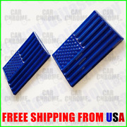 2pcs For Ford 3d All Blue American Usa Flag Decal Emblem Logo Badge Nameplate