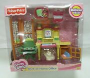 New Fisher Price Loving Family Dollhouse Work-at-home Office Set Desk Cat 2004