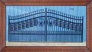 Wrought Iron Style Driveway Gate 14 Ft Wide Dual Swing Residential Yard Security