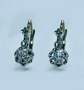 French Victorian Antique Old Mine Cushion Diamond Earrings 18k Gold Dormeuses