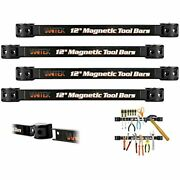 4 Heavy-duty 12andquot Magnetic Tool Holder Racks Super Strong Metal Storage Bars