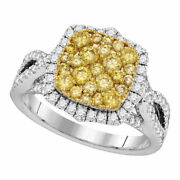 14kt White Gold Womens Round Yellow Diamond Canary Cluster Ring 1-1/2 Cttw