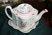 New Hall England Porcelain Teapot And Stand C. 1800 Floral Pattern 312 Wow