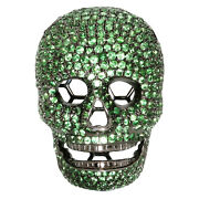 3.23ct Natural Tsavorite Pave Skull Finding 925 Sterling Silver Antique Jewelry