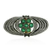 2.3ct Pave Diamond Emerald Knuckle Coktail Ring 18k Gold 925 Silver Jewelry