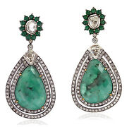 Natural Diamond And Emerald Dangle Earrings 18k Gold 925 Silver Jewelry