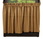 New Primitive Country Farmhouse Mustard Plaid Checked Tiers Curtains 24