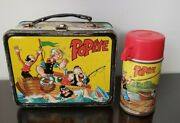 1964 Popeye Vintage Metal Lunch Box With Thermos Bottle King Features