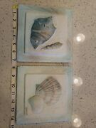 Original Stucco Art Signed Connie Baker Hanging Picture Pottery Shell Tiles Set